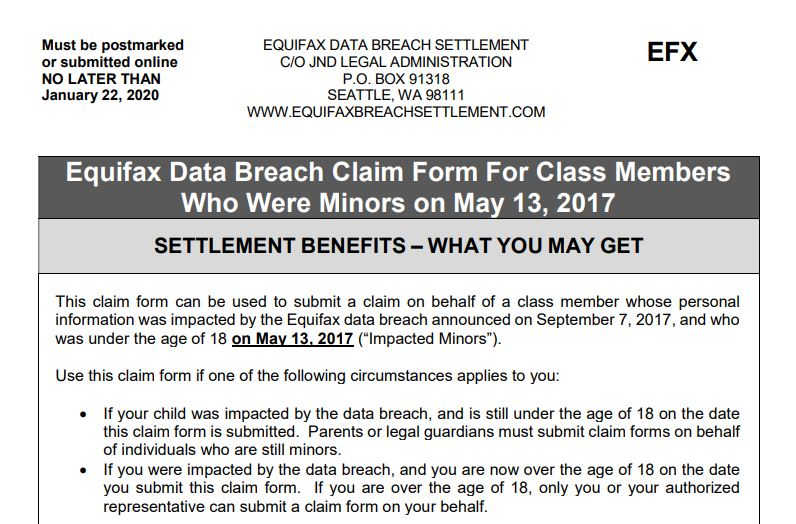 equifax claim form online  How to File an Equifax Breach Settlement Claim for a Minor