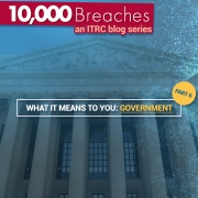 "Image of U.S. National Archives background with title ""10,000 breaches an ITRC blog series"" andtext ""What It Means to You: Government"""