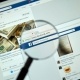 Image of magnifying glass over facebook lotter scam